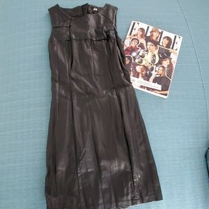 H&M Black Faux Leather Dress Size 2